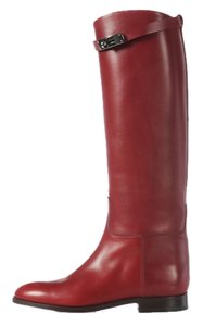 Hermès Burgundy Leather Hr.j0914.01 Boots