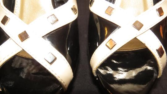 Wet Seal Two Tone Silver Studded Peek A Boo Toe Black & Tan Pumps