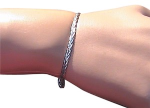 Italy Sterling Silver Diamond Cut Twist Braided Bracelet