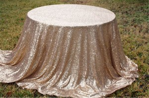 5 Champagne Gold Sequin Table Cloths 72