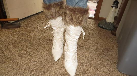 Unknown Laced Up Faux Fur Trim Cream Boots