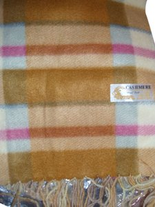 Royal Rossi Lovely holiday gift neutral beige & pink plaid check scarf muffler cashmere wrap by royal Rossi