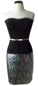 White House | Black Market Sequin Mini Mini Skirt silver