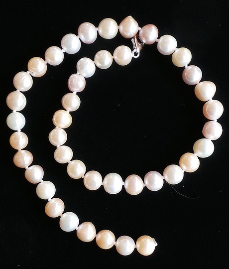 White 10mm Genuine Freshwater Pearl 925 Sterling Silver Necklace