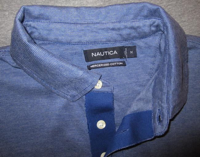 Nautica Polo Classic Fit Cotton Collared Sleeve Golf Casual Men's Size Medium T Shirt Blue