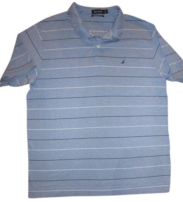 Nautica Men's Large Golf Pullover Pima Cotton Striped Polo Collared Sleeve T Shirt baby blue