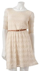 Rewind short dress Cream Lace High Low Elbow Sleeve on Tradesy