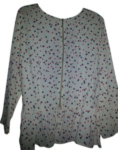 H&M Viscose Modern Top White with Blue and red Polka prints
