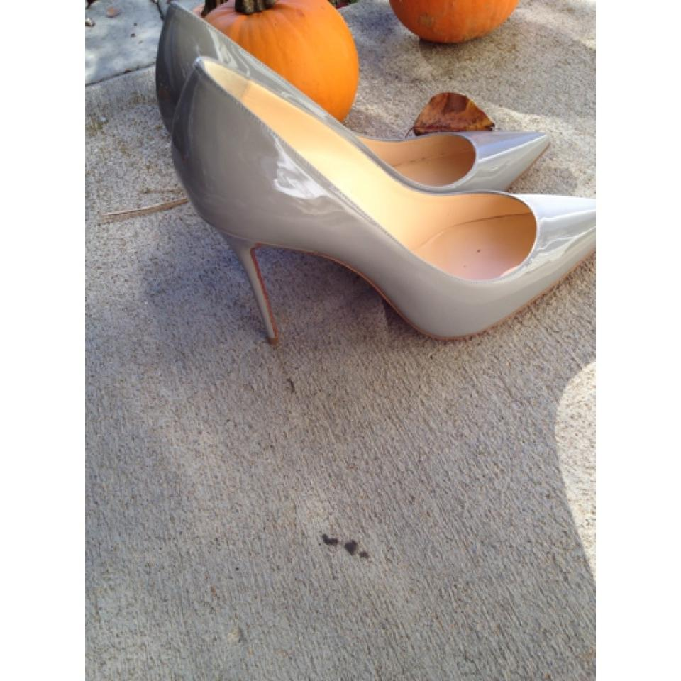 online store 27fb5 f8e6a Christian Louboutin Grey Decollete 554 100 Patent Leather Pumps Size US 9  12% off retail