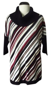White House | Black Market Striped Burgundy Sweater