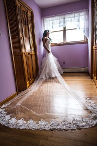 White Tulle/Ivory Lace Long Cathedral Length with and Swarovski Crystals Bridal Veil
