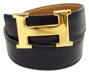 Hermès Hermes constance h logo belt kit reversible black/gold