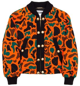 Moschino Camoflauge Jeremy Scott Bomber Orange Camo (w/ Brown & Green) Jacket