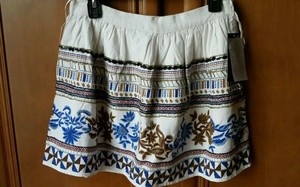 Zara Mini Skirt Cream Blue Floral