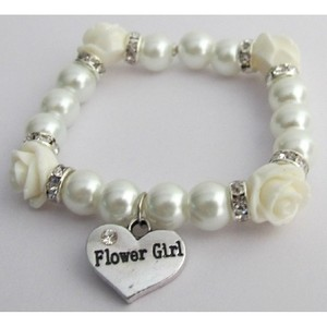 Fashion Jewelry For Everyone White Flower Girl Gift Ivory Rose Flower Bead Spacer Bracelet