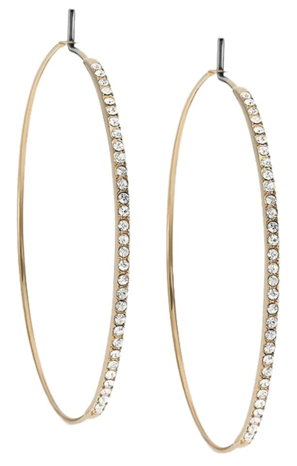 Michael Kors 80 10 Gold Tone With Clear Pave Crystals Medium Whisper Hoop Earrings
