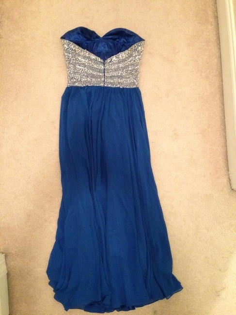 Wow! Prom and Pageant Blue Gown Evening Gown Dance Beaded Long Dress