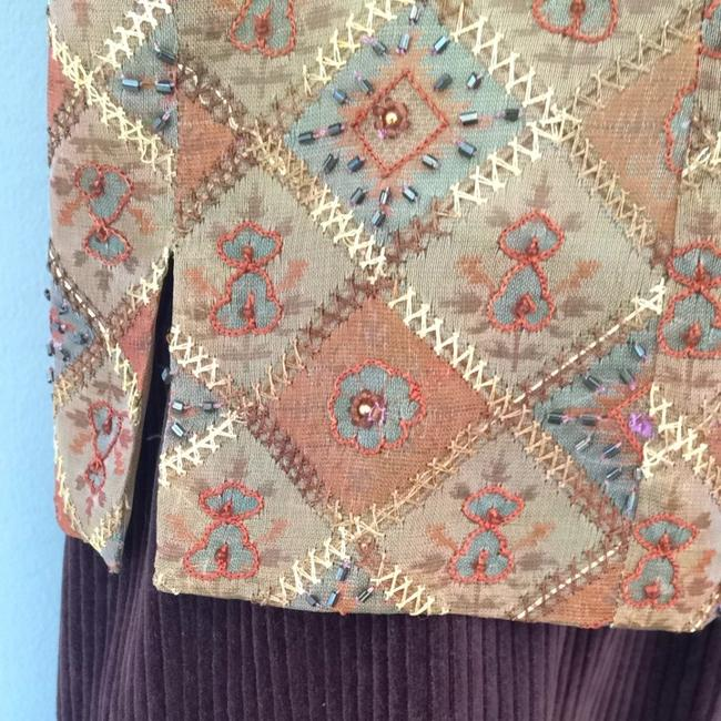 Libby Lane Silk Embroidered Beaded Rust Patterned Cropped Top Golds & Browns
