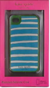 Kate Spade Kate Spade Green Blue and White Striped Silicone iphone 4/4S case cover