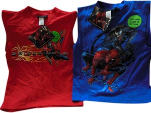 SPIDERMAN Sleeveless Glow-in-the-dark Top Red and Blue
