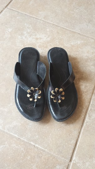 Fly Flot Leather Black with tan Sandals