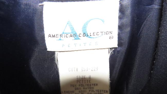 American Collections White Buttons Dbl Breasted Navy Blue Blazer