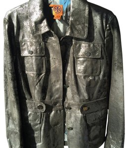 Tory Burch Distressed Grey leather Metallic Leather Jacket