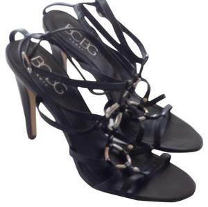 BCBG Paris Black Strappy Polished Silver Black leather Sandals