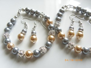 Grey Gold Of 7 Bridesmaid Bracelets and Earrings Jewelry Set
