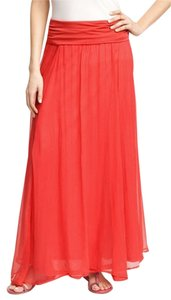 Max & Mia Crinkled Pink Maxi Skirt Lipstick (Orange-Pink)