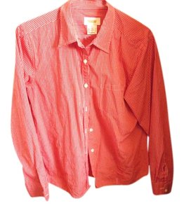 Talbots Checkered Button Down Shirt RED & WHITE