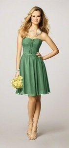 Alfred Angelo Green Chiffon 7143 In Clover Modern Bridesmaid/Mob Dress Size 8 (M)
