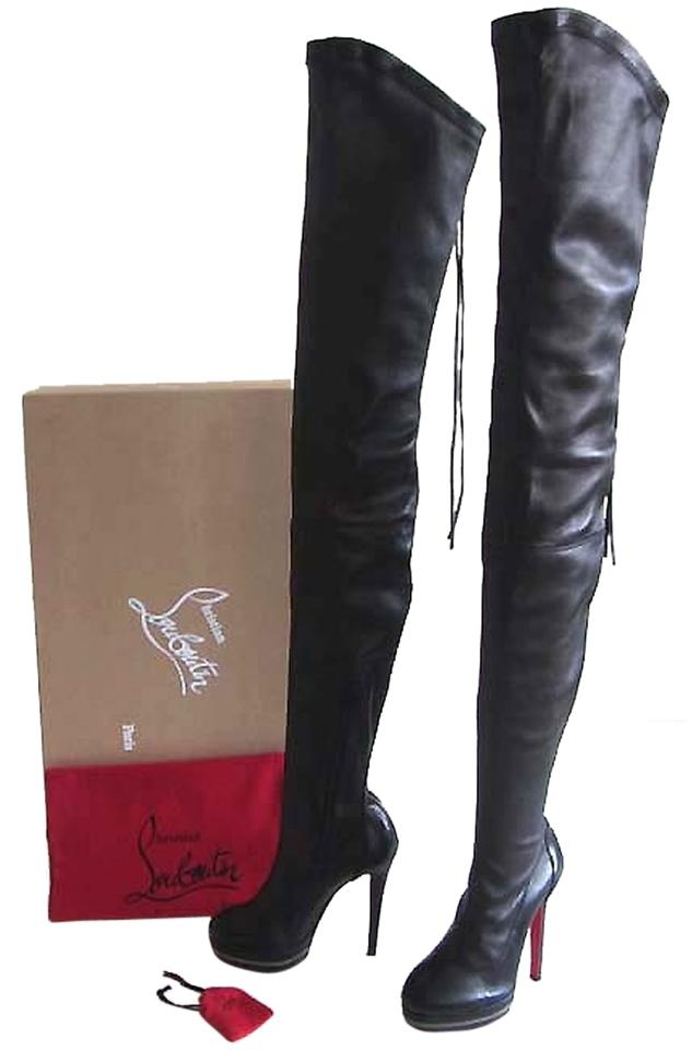 caf92150878 Christian Louboutin Black Nappa Leather Unique 140 Semi Pointed-toe  Platform Thigh-high with Zipper and Tassle Boots Booties