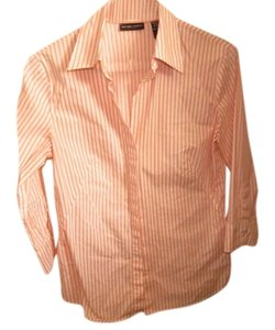 New York & Company Button Down Shirt ORANGE STRIPS