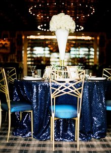 120' Round Navy Sequin Tablecloth Bling Glam Sparkle Wedding Clearance