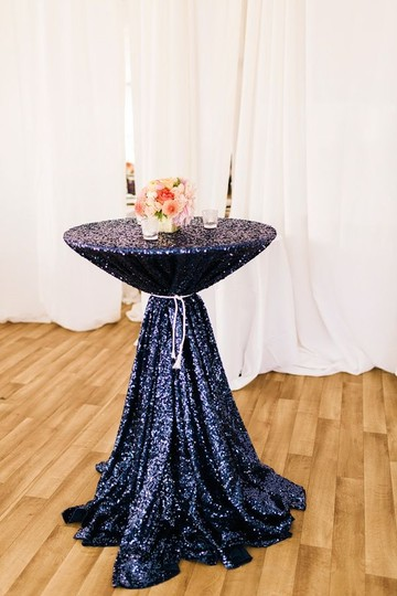 Navy 120' Round Sequin Bling Glam Sparkle Tablecloth Image 1