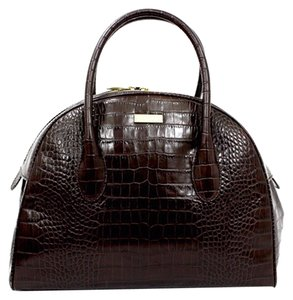 Kate Spade Croc Embossed Leather Satchel in Chocolate Brown