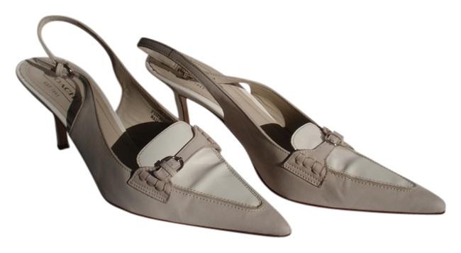 Item - Cream and White Spectator Suede Patent Leather Slingbacks Pumps Size US 9.5 Regular (M, B)