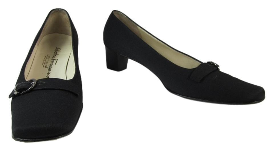7799fdc5cf0 Salvatore Ferragamo Black Gancini Logo Low Heel Sz  N Pumps. Size  US 6.5  Narrow (AA ...