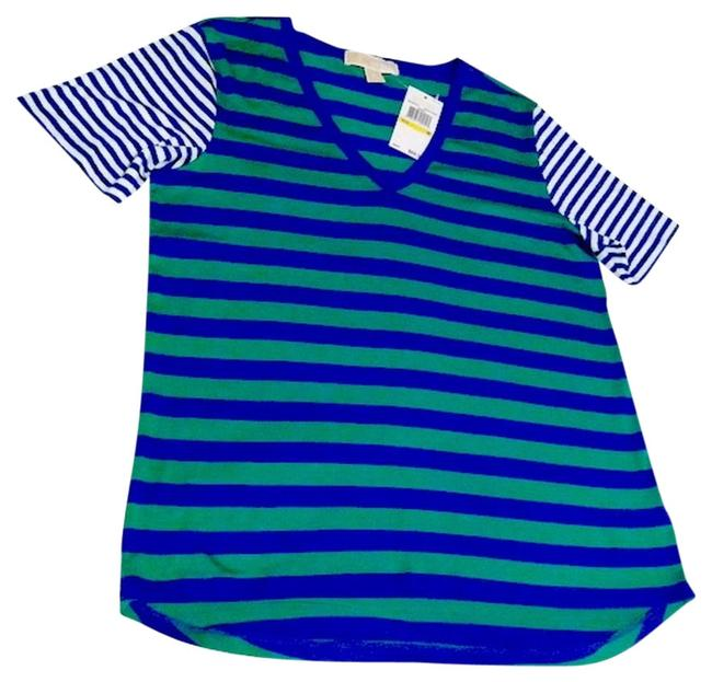 Preload https://img-static.tradesy.com/item/867338/michael-kors-green-blue-new-v-neck-striped-tee-shirt-size-8-m-0-0-650-650.jpg