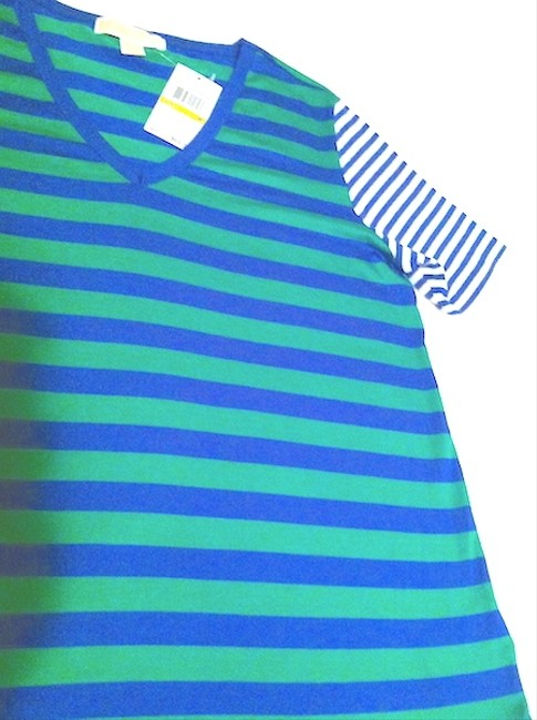 Michael Kors New V-neck Striped T Shirt Green / Blue