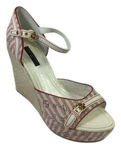 Louis Vuitton Stripe Lv Espadrille Peep Toe Red, White Platforms