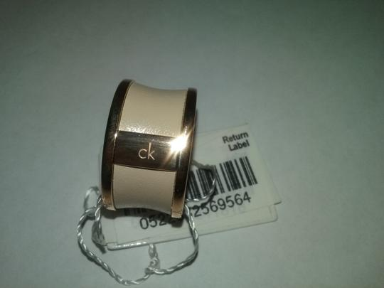 Calvin Klein Limited Edition Rose Gold Stainless Steel Nude Leather Ring Image 7