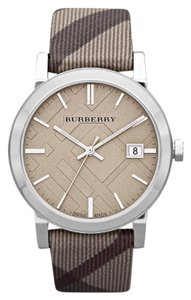 Burberry Burberry The City Heritage Smoke Taupe Leather Silver Stainless Watch BU9023