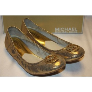Michael Kors Metallic Distressed Gold Leather Flats