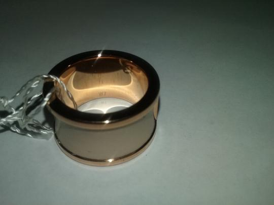 Calvin Klein Limited Edition Rose Gold Stainless Steel Nude Leather Ring