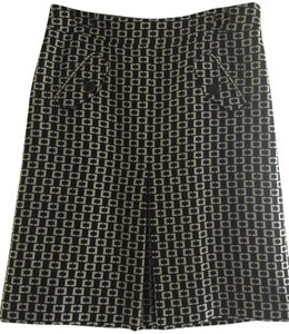 Ann Taylor LOFT Wear To Work Pencil Office Business Casual Neutral Skirt Black and Beige