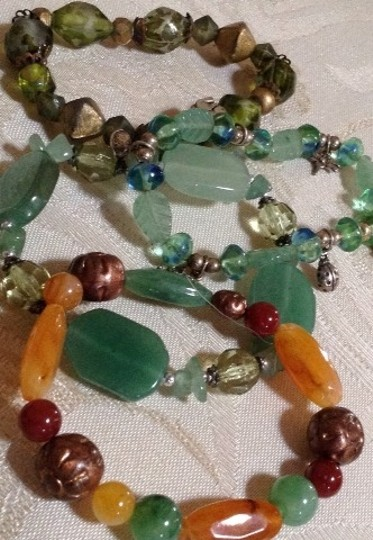 Other Lot 4 Vintage Glass Green Stretch 1970s Bracelets