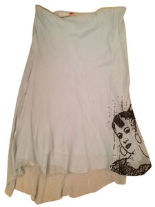 Petrozillia Graffiti Midi Graphic Art Skirt light blue