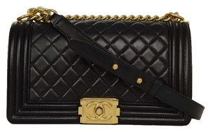 Chanel Gold Gold Hardware Boy Quilted Chain Strap Medium Leather Rare Collectors Cross Body Bag